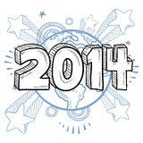 2014 year celebration. Doodle style 2014 New Year illustration in vector format with retro 1970s shooting stars pop background Royalty Free Illustration