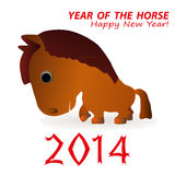 2014 year of the horse. Illustration of year of the horse in 2014, white background Stock Images