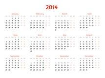 2014 Year Vector Calendar. Flat Style Design Stock Photo