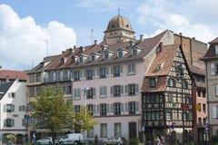 法国,史特拉斯堡- 2014年8月2日:房子散步的看法 免版税库存照片