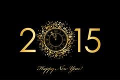 2015年与金时钟的新年快乐背景 免版税库存图片
