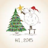 Счастливые овцы 2015 Нового Года Стоковые Фото
