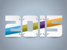 Κείμενο έτους 2015 με τα ριγωτά χρώματα Στοκ Εικόνες