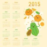 日历2015果子逗人喜爱的动画片番木瓜橙色柿子传染媒介 免版税库存照片
