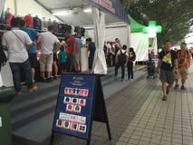 新加坡格兰披治2015年惯例商品摊位 库存照片