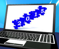 2015 On Laptop Shows Future Festivities. And Celebrations vector illustration