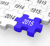 2015 Puzzle Piece Shows New Year's Festivities. And Celebrations Royalty Free Stock Photos