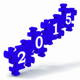 2015 Puzzle Shows Annual Resolutions. And Goals vector illustration