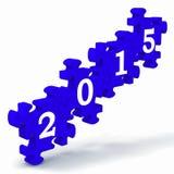2015 resoluciones de la publicación anual de las demostraciones del rompecabezas Imágenes de archivo libres de regalías