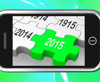 2015 On Smartphone Shows Future Plans. And Resolutions Stock Photos