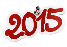 2015 two thousand fifteen. 2015 (two thousand fifteen) red sticker fixed onto a white background by using a thumbtack stock illustration
