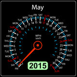 2015 year calendar speedometer car in vector. May. Royalty Free Stock Photo