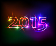 2015 year with colored neon lights effect. Cute 2015 year with colored neon lights effect Stock Photos