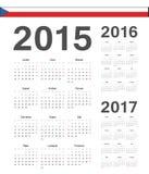 套捷克2015年2016年, 2017年传染媒介日历 免版税库存图片