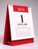 简单的桌面日历2016年- 1月 库存照片