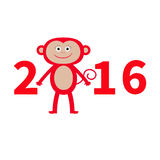 逗人喜爱的猴子 新年2016年 婴孩例证 2007个看板卡招呼的新年好 奶油被装载的饼干 平的设计 免版税库存图片