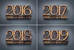 Год 2016, комплект 2017, 2018 и 2019 Стоковая Фотография RF