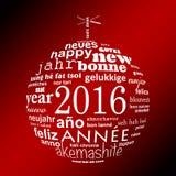 του 2016 νέα ευχετήρια κάρτα σύννεφων λέξης κειμένων έτους πολύγλωσση με μορφή μιας σφαίρας Χριστουγέννων Στοκ Εικόνα