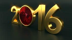 新年2016红宝石 库存照片
