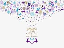 圣诞快乐减速火箭新年好2016年的葡萄酒 免版税库存图片