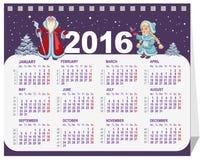 俄语圣诞老人和雪未婚 日历在2016年 免版税库存照片