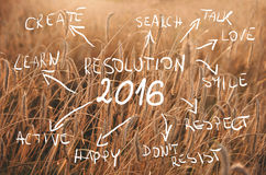 Цели разрешения 2016 Нового Года написанные на поле пшеницы готовом быть сжатым Пшеничное поле захода солнца Стоковые Изображения