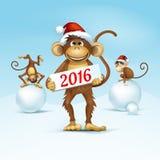 2016年中国日历猴子圣诞卡传染媒介的新年快乐 图库摄影