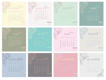 Календарь на 2016 с иллюстрацией на предпосылке пастельного цвета Неделя начинает понедельник Простой шаблон вектора Стоковые Фото
