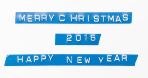 圣诞快乐新年快乐2016标签磁带 库存照片