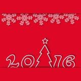 新年2016寒假、雪花和圣诞树,大模型党邀请红色背景 免版税库存图片