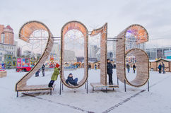 Οι ξύλινοι αριθμοί του νέου ερχόμενου έτους - 2016 Στοκ Εικόνες