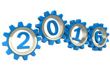 2016 Blue Gears. Blue gears with blue numbers 2016. White background stock illustration