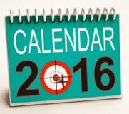 2016 Calendar Shows Future Target Plan. 2016 Calendar Showing Future Target Business Plan Royalty Free Stock Photography