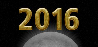 2016 golden card. Happy new year 2016 card, universe theme with planet or moon Stock Image