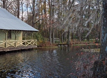 Mill Pond Boathouse. Old Mill house on a millpond in Lake View South Carolina, early winter Stock Photo