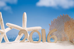 2016 Numbers Letters With Starfish, Ocean , Beach And Seascape Royalty Free Stock Images