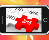 2016 On Smartphone Showing Future Visions. And Predictions Vector Illustration