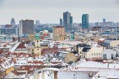 布拉索夫,斯洛伐克- 2016年1月24日, :镇的看法 库存图片