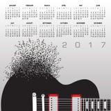 2017年与笔记的吉他日历 库存例证