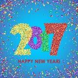 新年2017年与五彩纸屑的庆祝背景 免版税库存照片