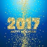 新年2017年与五彩纸屑的庆祝背景 免版税库存图片