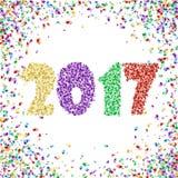 新年2017年与五彩纸屑的庆祝背景在白色 免版税库存图片