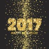 新年2017年与五彩纸屑的庆祝背景 库存照片