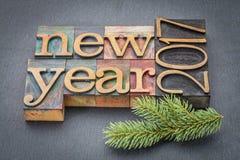 Новый Год 2017 в деревянном типе Стоковое Изображение RF