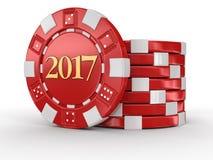 赌博娱乐场芯片2017年 库存图片