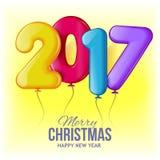 圣诞快乐和新年好2017年背景 免版税库存照片