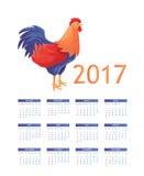 与雄鸡-年的标志的五颜六色的2017日历 免版税库存图片