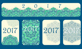 2017 Calendar cover decorated with circular flower mandala Stock Photos