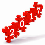 2017 Puzzle Shows New Year's Greetings. And Festivity Royalty Free Stock Images