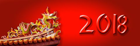 Free 2018 Chinese New Year Panoramic Banner With A Dragon On Red Background Stock Images - 101038824